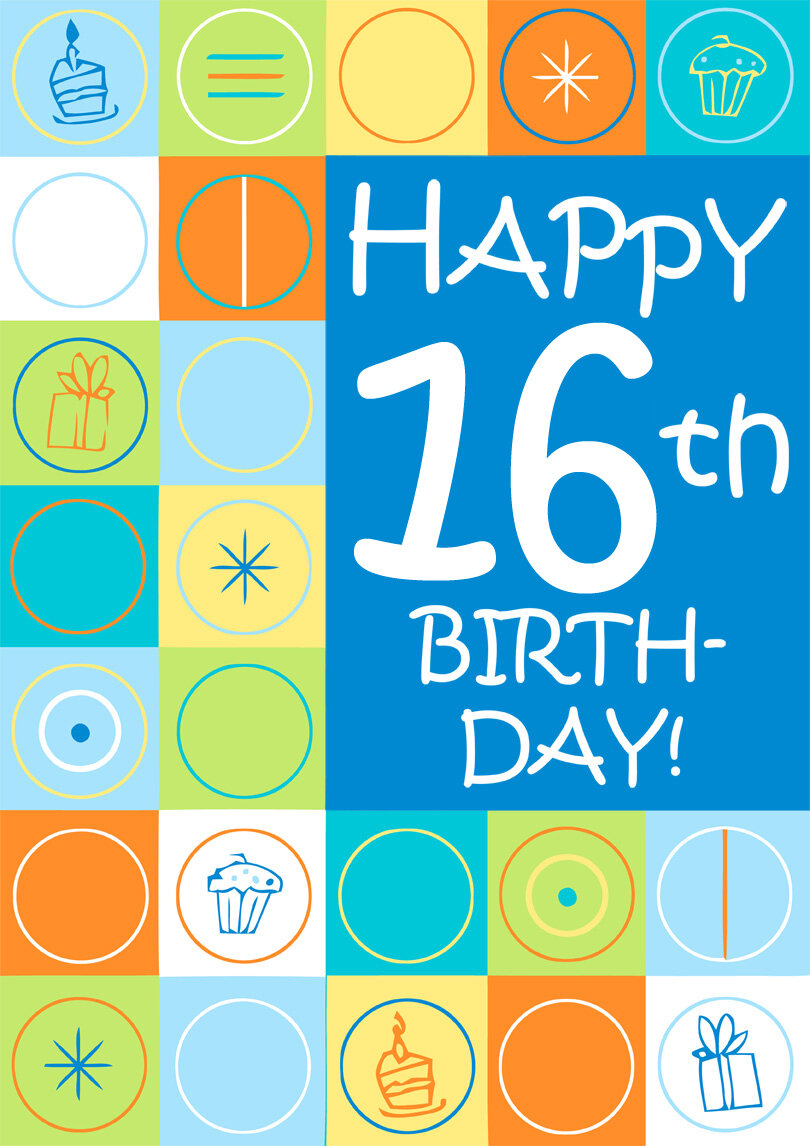 16 Years Old Birthday Card Generic Colorful Printbirthday Cards