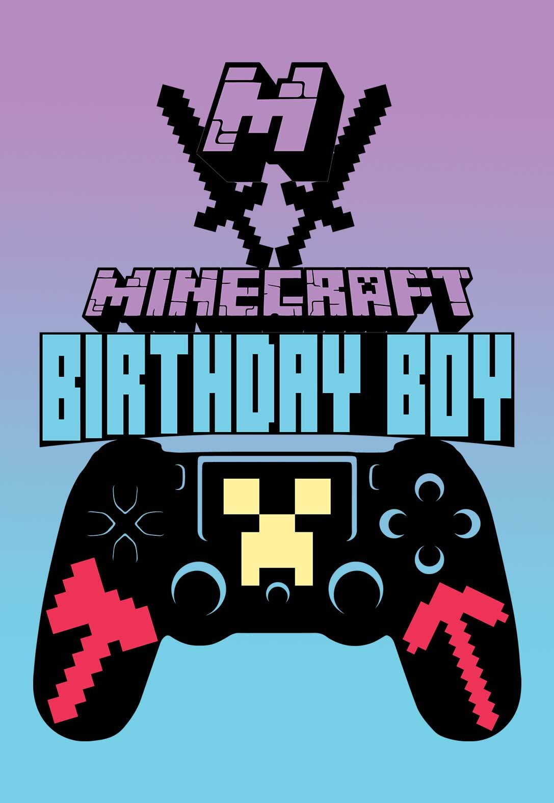 This is a photo of Printable Minecraft Birthday Cards within symbol minecraft