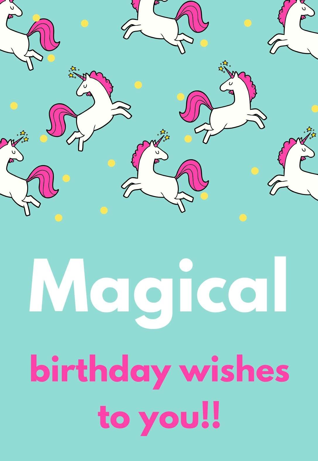 Unicorn Birthday Cards Printbirthday Cards
