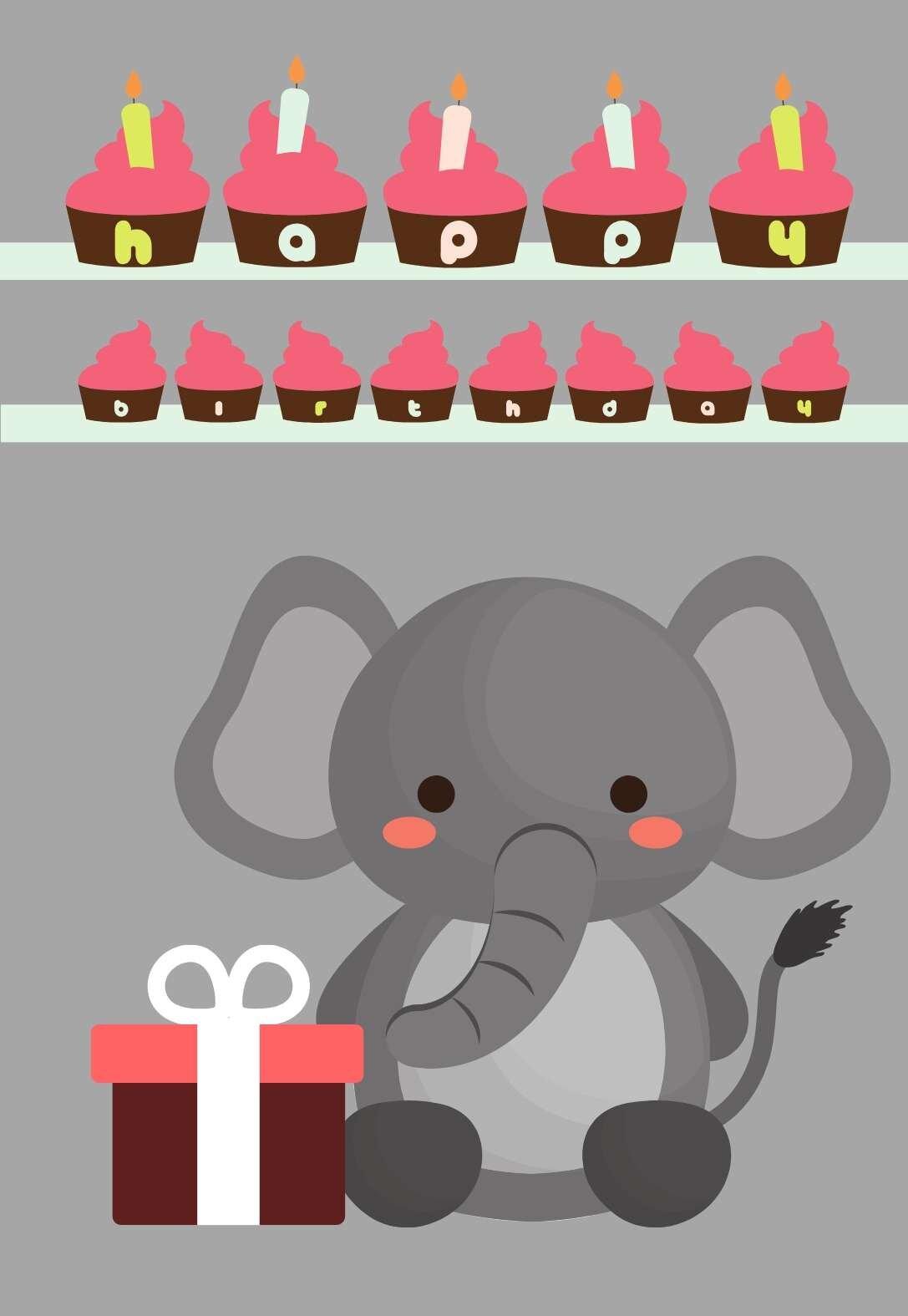 Animal Blank Greetings Cards,Instant Download Elephant Birthday Card printable cute irrelephant greeting card elephants illustration
