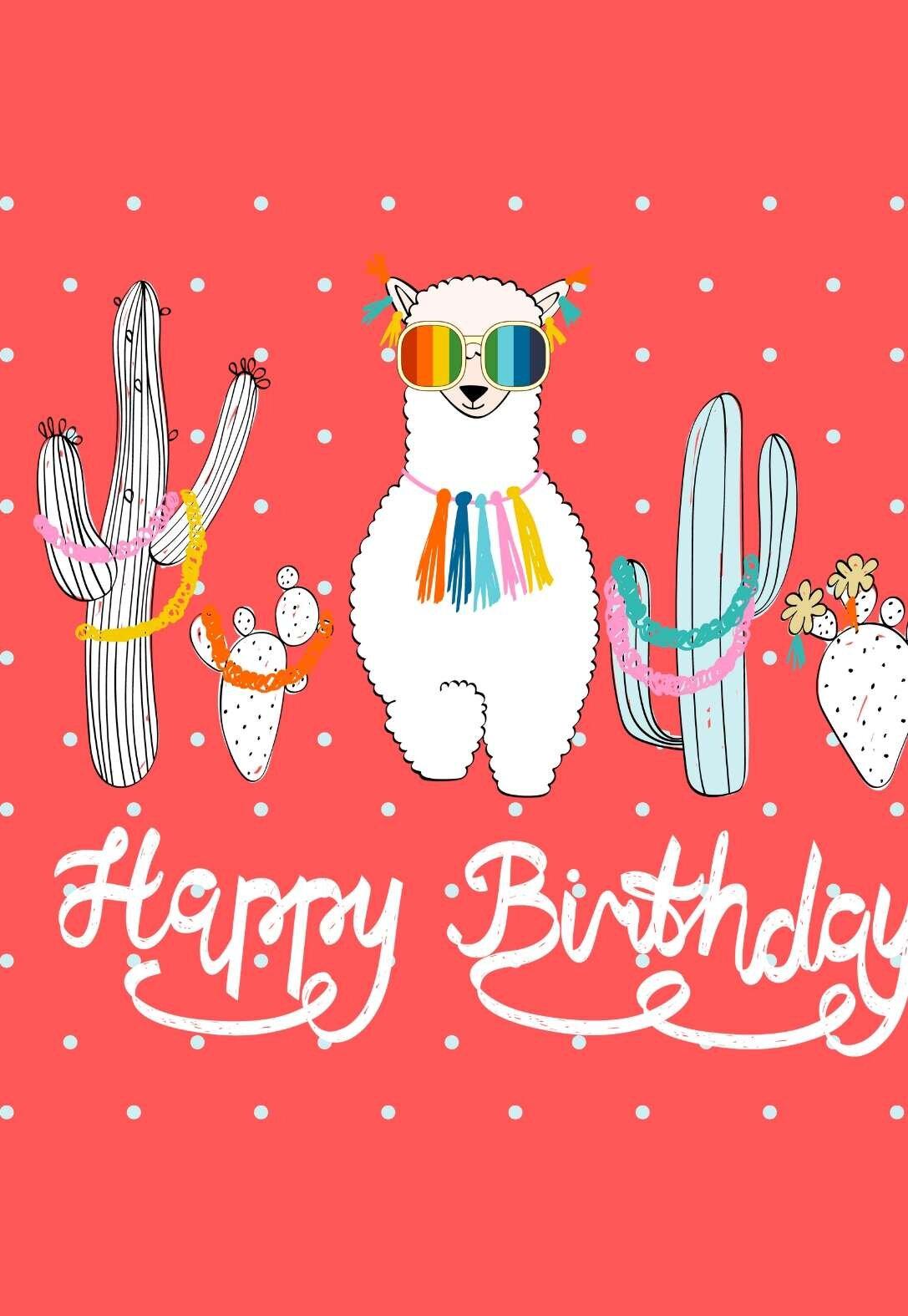 Llama Printable Birthday Cards Printbirthday Cards