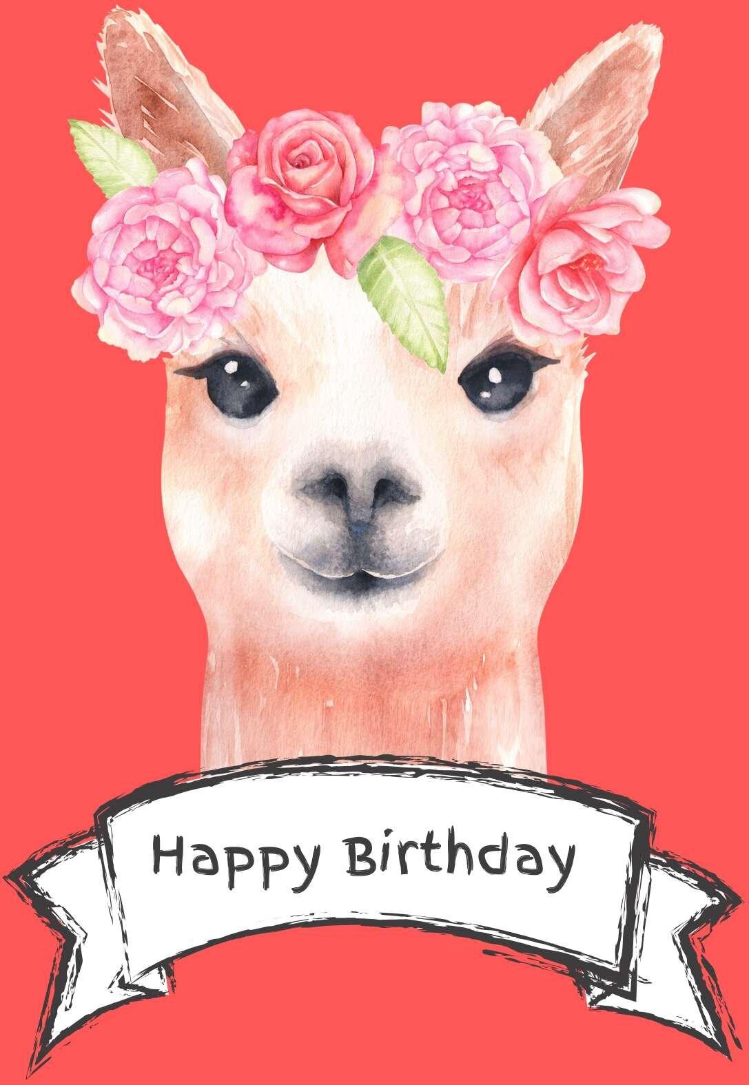 Printable Alpaca Birthday Card
