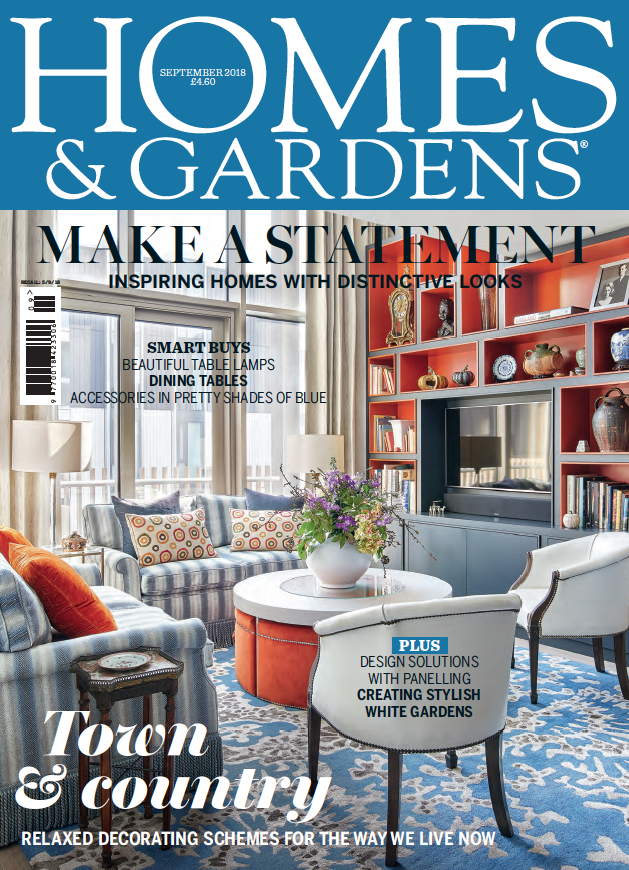 Homes & Gardens - Sept 2018  Front Cover plus 8-page article entitled 'Colour Class'. © Homes & Gardens, published SEPTEMBER 2018.