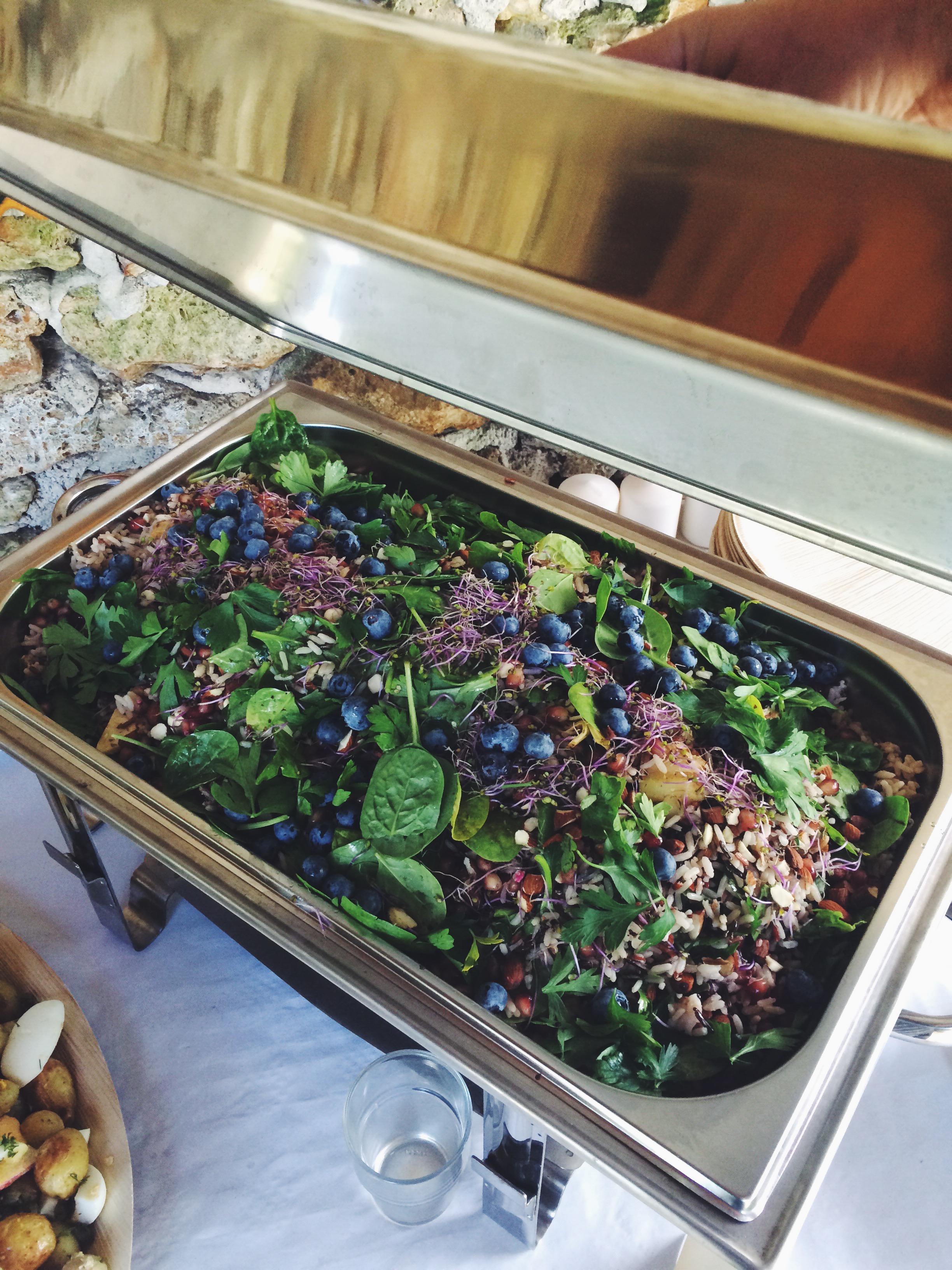 wild rice salad, tamari almonds, blueberries and greens