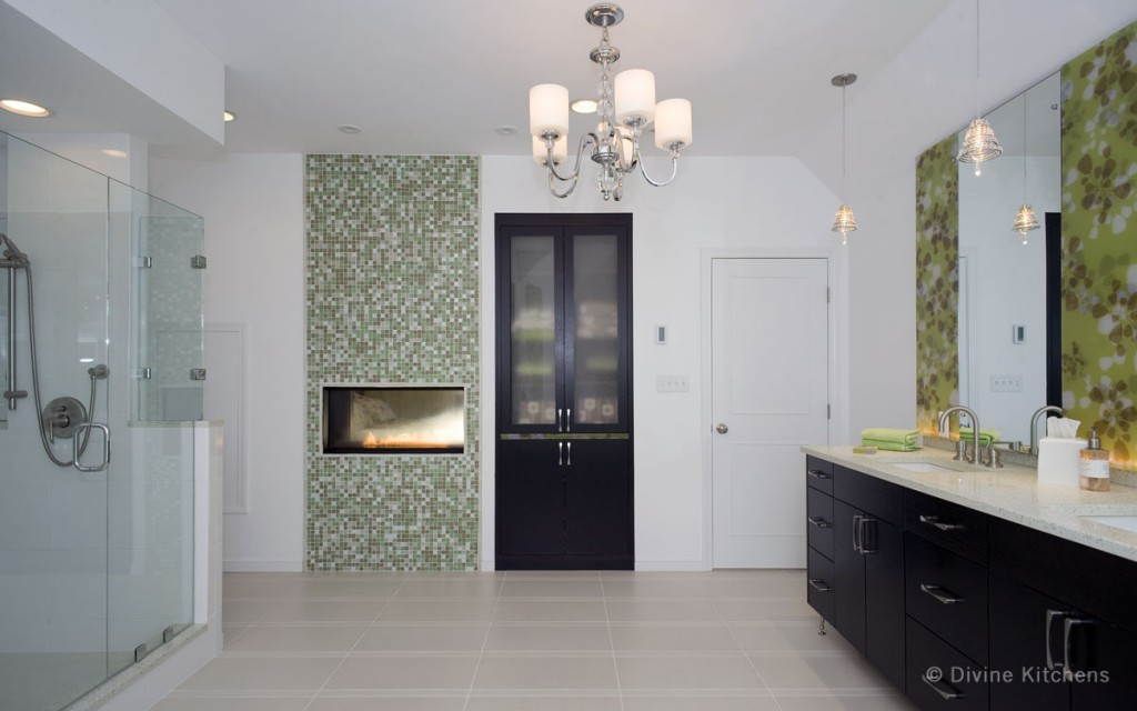 high end bathroom - fireplace