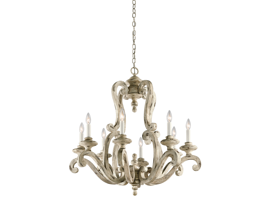 Hayman Bay 8 Light Large Chandelier in Distressed Antique White