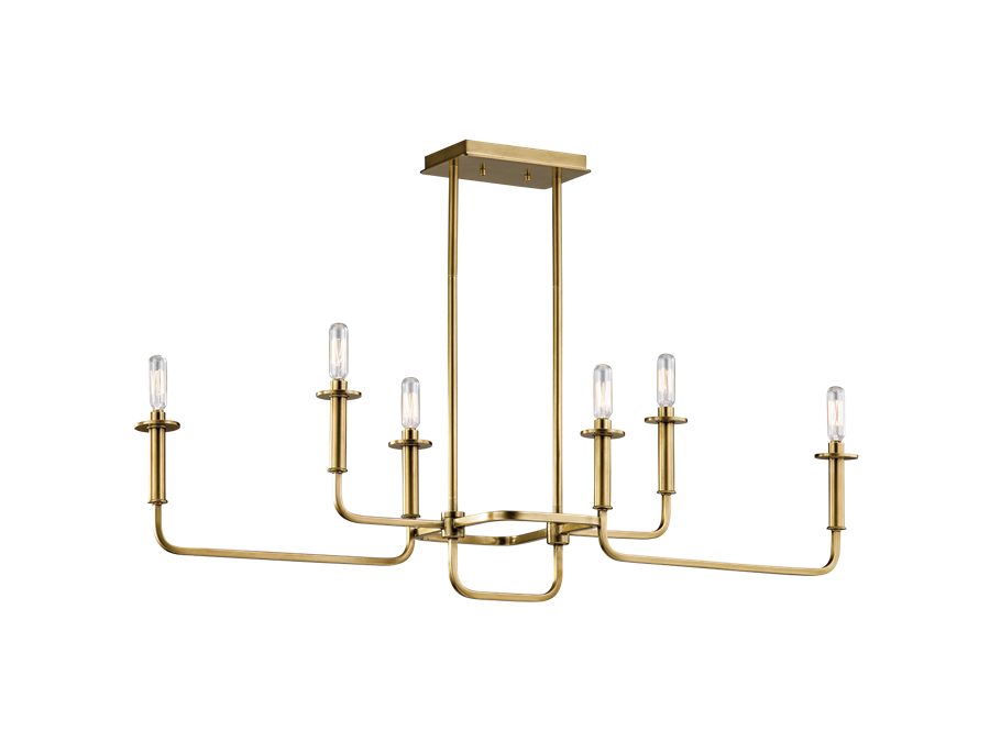 Kichler Alden 6 Light Chandelier in Natural Brass