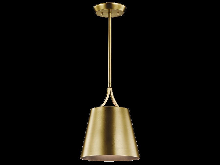 Maclain 1 Light Mini Pendant in Natural Brass