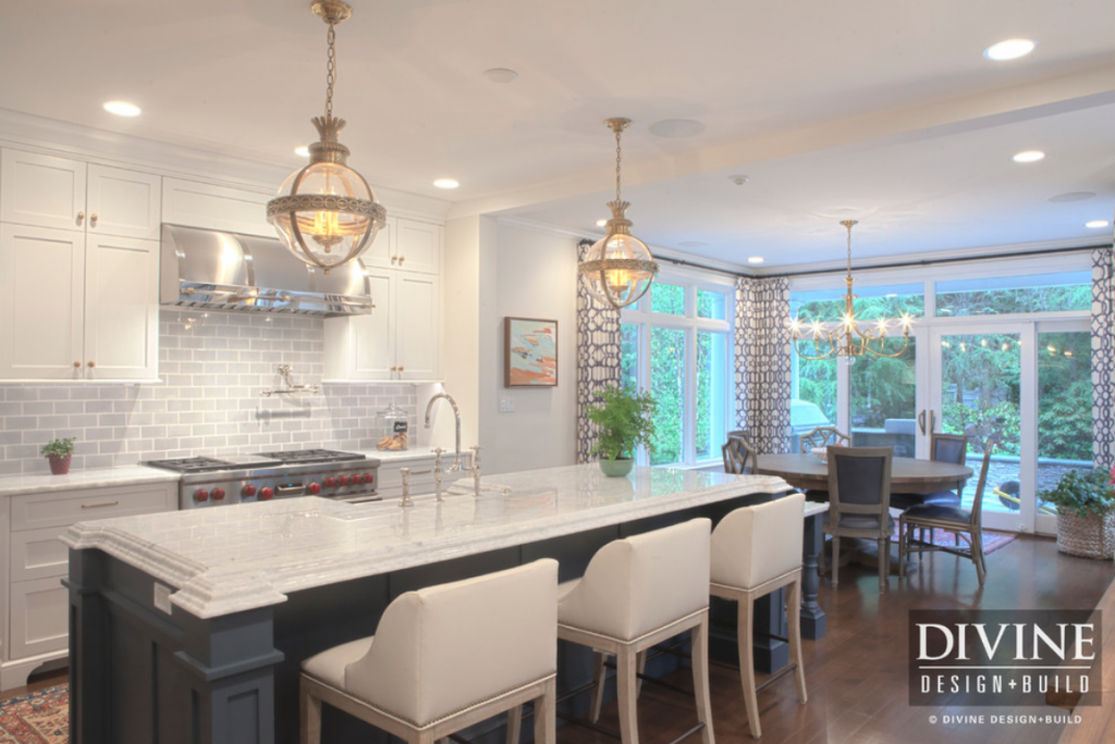 A kitchen design in Wellesley, Mass feels fresh and new while respecting the classic architecture of the home
