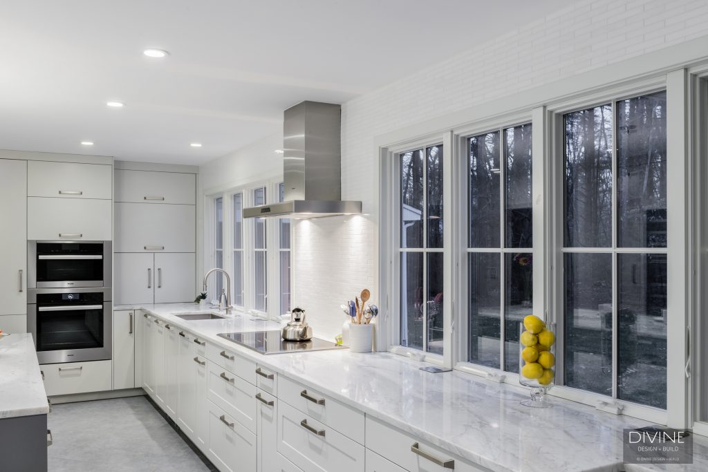 white kitchen design in medfield, mass