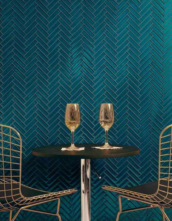 turqoise tiles, aqua tiles, teal tiles, herrinbone tiles, marrs green, green tiles, gold dining room chairs, dining nook, champagne, white wine, cafe seatong, glamorous, modern, in style, hot trend