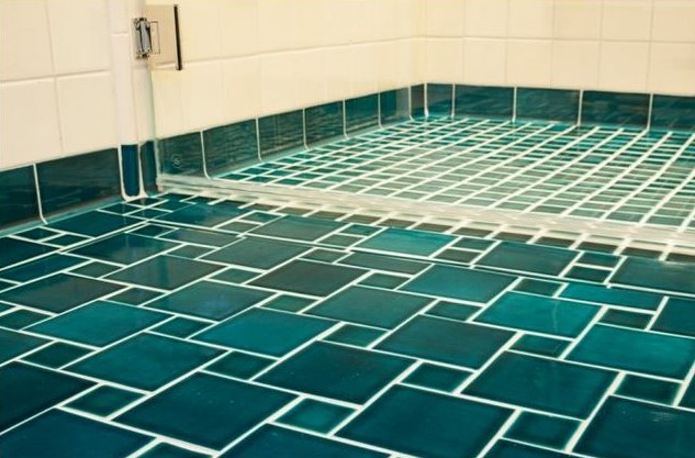 bathroom, spa, tile shower, green tiles, marrs green, tile floors, glass tiles, aqua tiles, fireclay tiles, fireclay, traditional, transitional