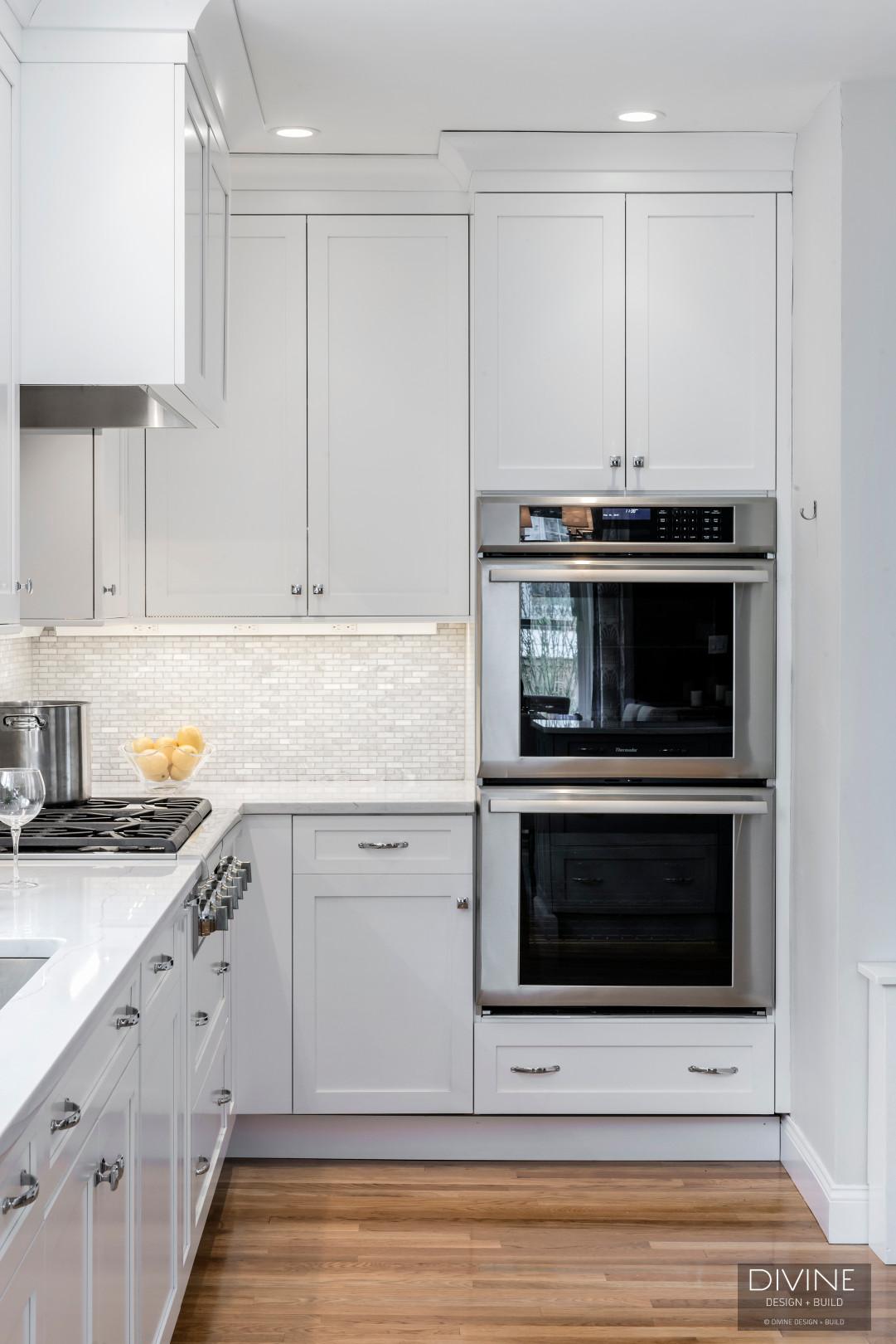 - Boston Transitional Kitchen Grey Peninsula — Divine Design+Build
