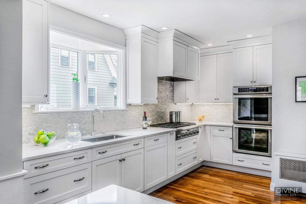 Boston Transitional Kitchen Grey, White Shaker Kitchen Cabinets With Quartz Countertops