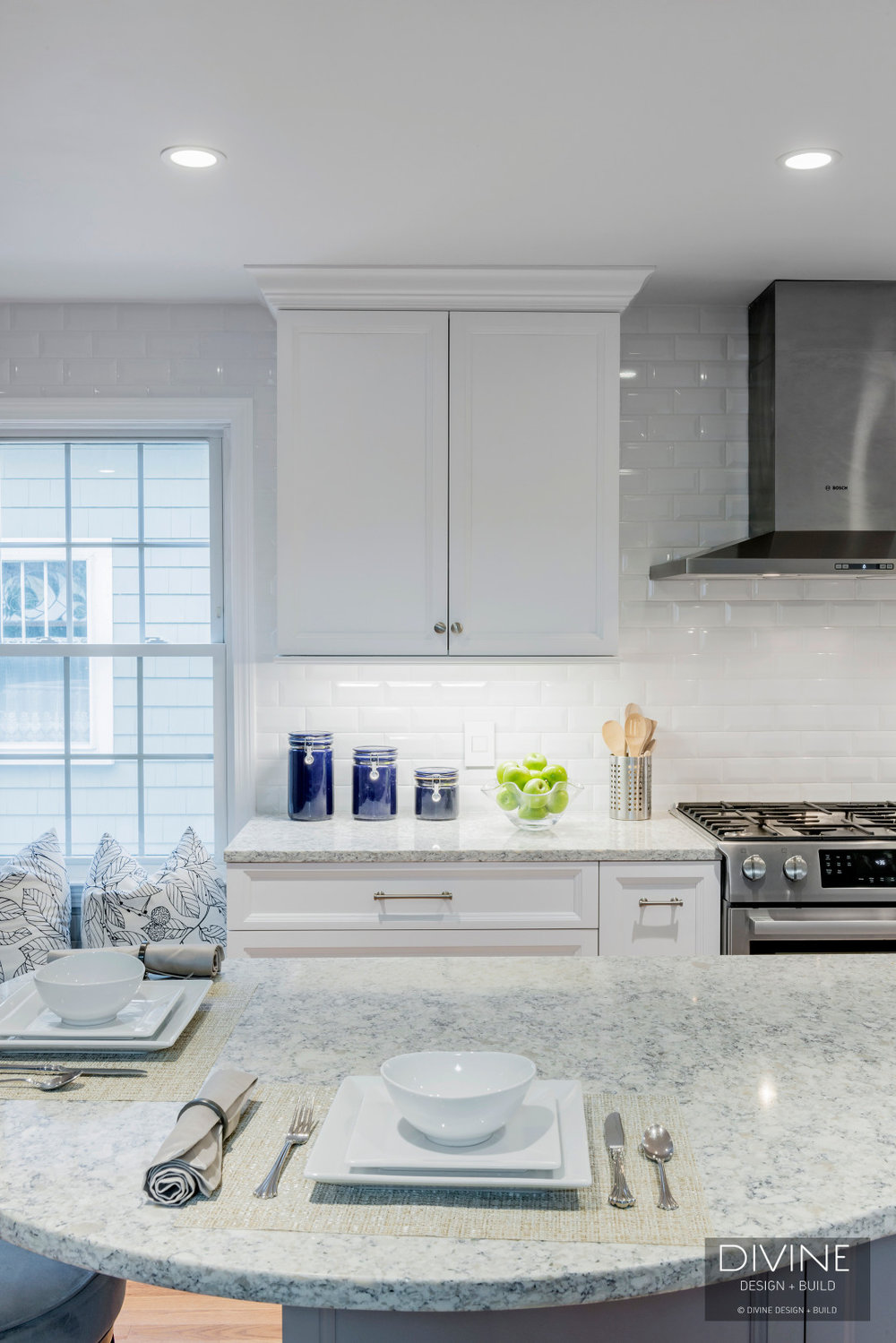 Boston Metrowest Transitional Kitchen Grey Island Divine Design Build