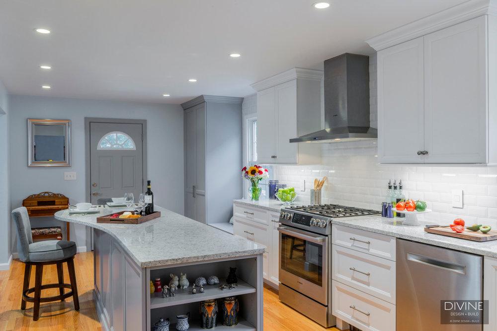 Boston Metrowest Transitional Kitchen Grey Island Divine Design Build