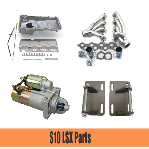 S10 LSX Swap Parts   We have headers, oil pans, starters and the mounts needed to install your LS based engine into you S10.