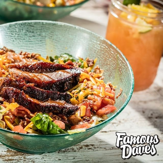 With your choice of Texas Beef Brisket, Georgia Chopped Pork, Grilled Chicken, or BBQ Pulled Chicken, you just can't go wrong! A better salad was never made! #FamousDavesBBQ #FamousDavesQue #FamousDaves #FamousFood #FamousQue #FamousSalads #BBQSalads #Food #FoodPhotography #FoodForFoodies #ForkYeah