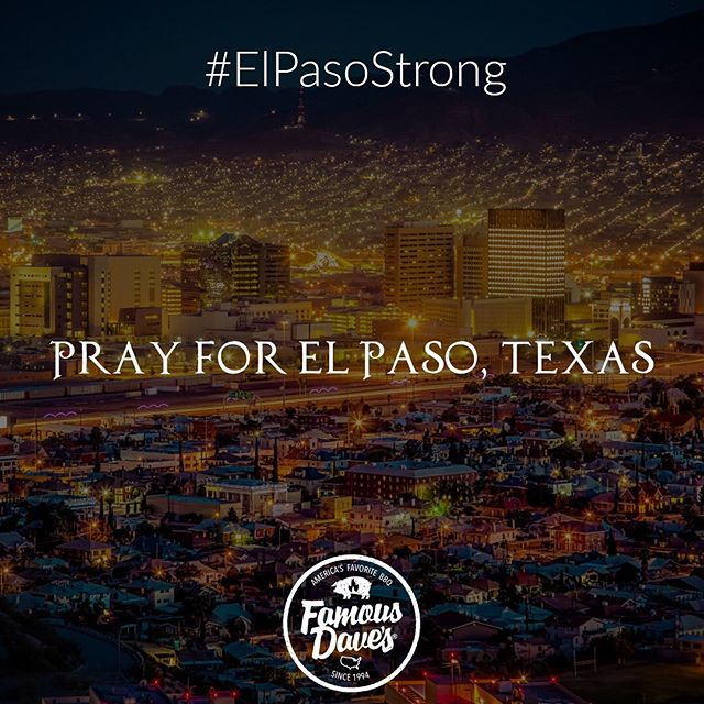 We are El Paso strong. Our hearts and prayers are with everyone in our beautiful city. We love you all! #AmorPorElPaso #LoveForElPaso #ElPasoStrong #PrayersForElPaso