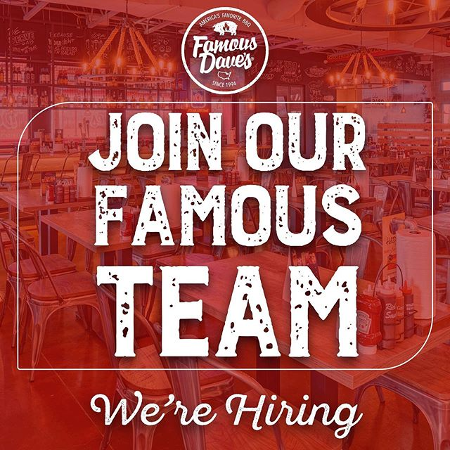 Join our famous work team, we are looking for people like you, with a good service attitude, energetic and eager to improve. Enter this link and apply now. restgroupjobs.com  We have positions available throughout the El Paso Area.