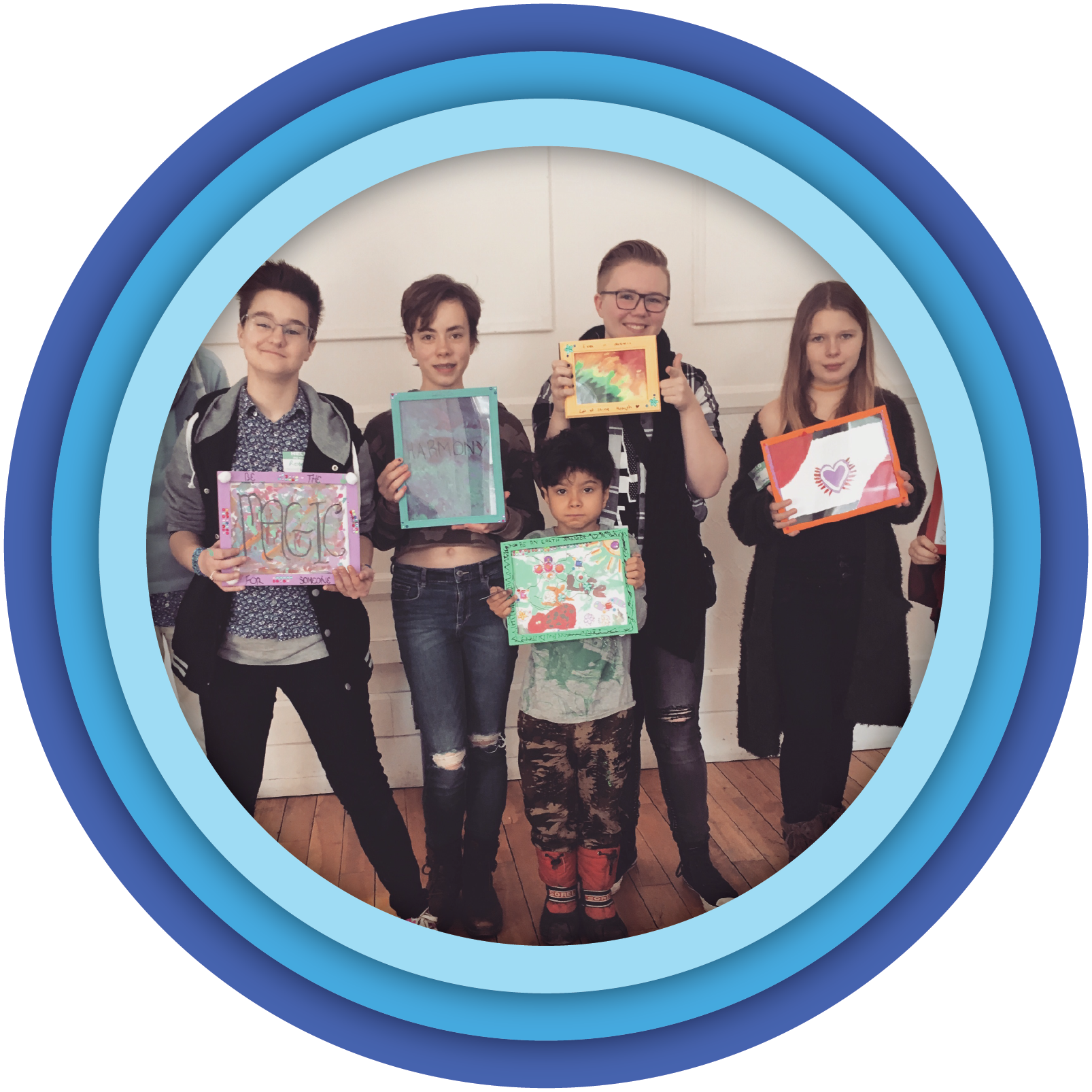 A group of young people holding up differently colours picture frames with their art about inclusion