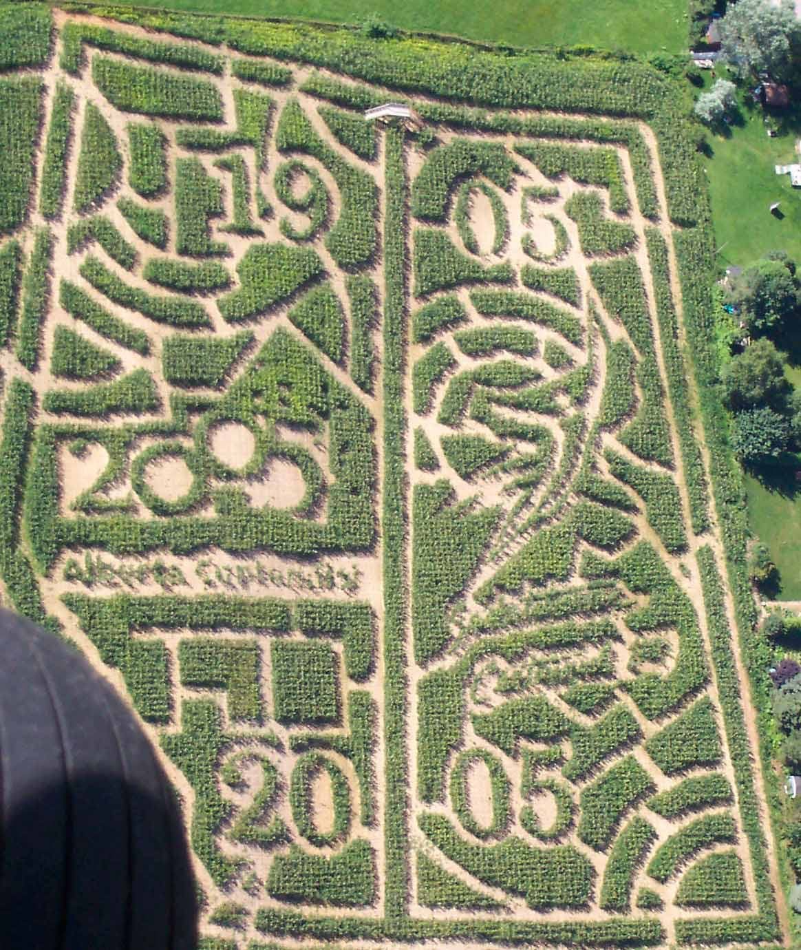 2005: Alberta and Saskatchewan Centennial  Our 2005 maze was a tribute to the Alberta and Saskatchewan's Centennial Year featuring the outline of both provinces and their Centennial logo in the middle of each province. It was our most elaborate undertaking yet requiring over 2200 connect-the-dot coordinates.