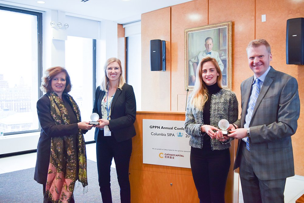 Bitae Technologies accepting the first place award at the Global Public Policy Annual Conference. Left to right: Merit Janow (Dean of SIPA), Shanna Crumley, Gemma Torras Vives, and Corey Way (Associate Dean for Student Affairs).