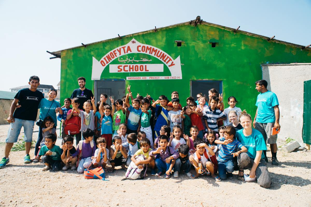 Teaching in a refugee camp in Greece influenced Bitae's education priorities. (2016)