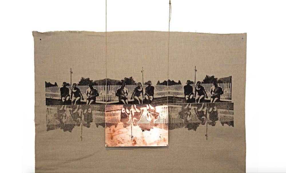 Manal Al Dowayan - Poolside II | Canvas, copper, string| 100 x 71 cm | 2015