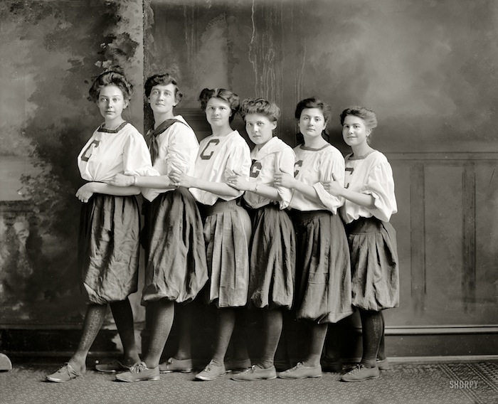 "Washington, D.C., circa 1910. ""Girls' basketball."" The C might stand for Central High. Harris & Ewing Collection glass negative."