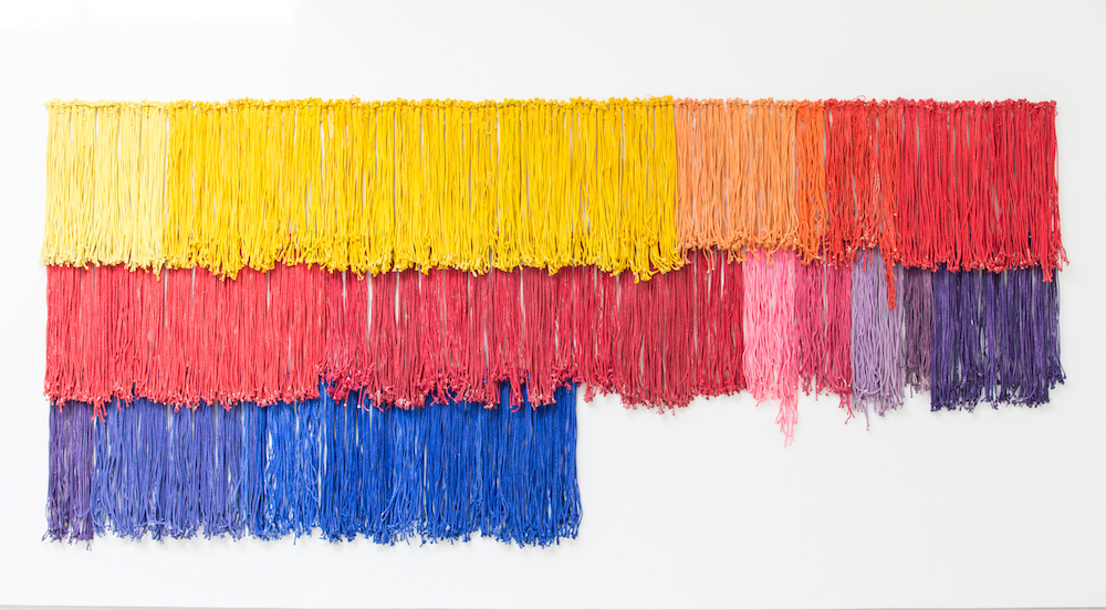 Hassan Sharif 2016 - Cotton rope, acrylic paint, and copper wire. 240 x 535 x 10 cm, Installation view, Image Courtesy of Sharjah Art Foundation