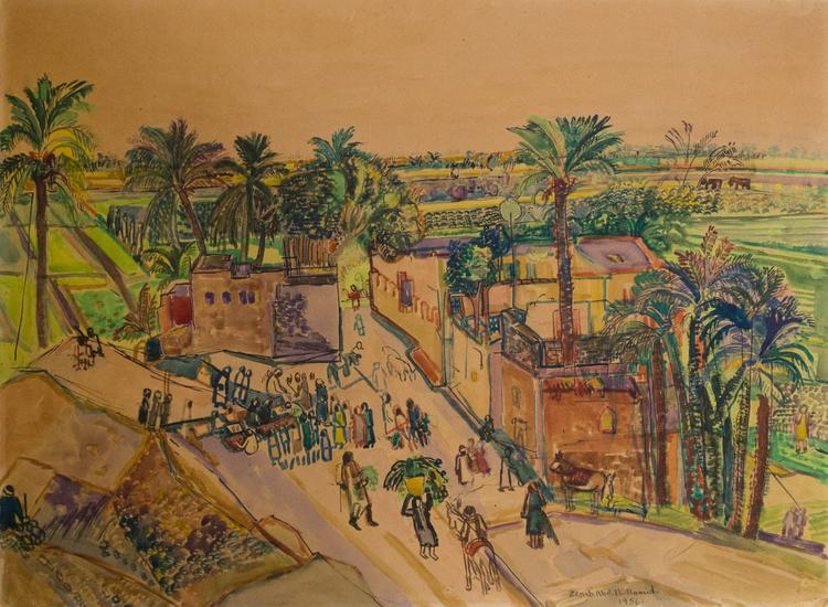Zeinab Abdel Hamid, Untitled, 1956, Mixed media on paper, 53.5 x 72.8 cm