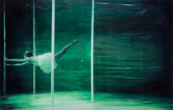 """The Swimmer"", Oil on plexiglass 84 x 132 cm 2014"