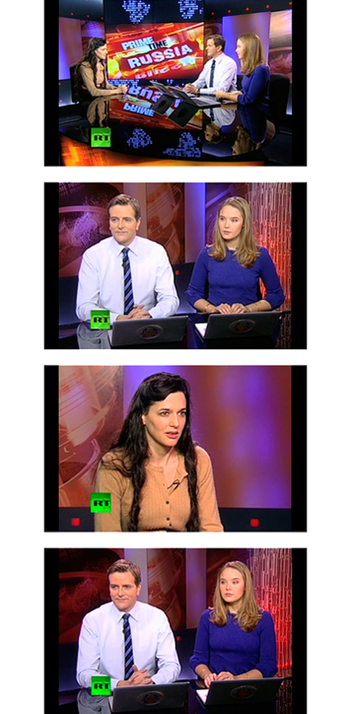 Cutaways (2012), is an absurdist video resulting from a Kafkaesque moment when Simon was being interviewed for Prime Time Russia, a show on the Moscow-based news channel Russia Today. The two presenters, sitting across from Simon, asked her to remain silent for several minutes and stare at them while the scene was filmed for cutaway editing material.