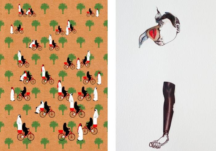 Left: Mohammad Sharaf - Allowed – One year later | Silkscreen-printed on craft paper | 50cm x 70cm Right: Deena Machina - I am Human #1 | Mixed media on paper | 33x48cm