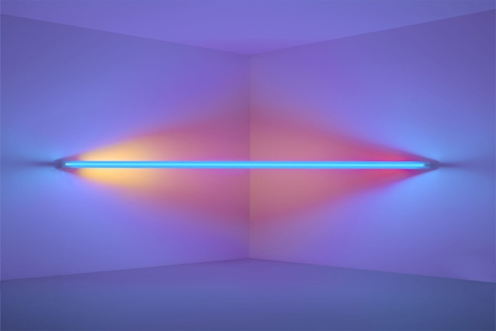 Dan Flavin, untitled (to Virginia Dwan) 2, 1971. blue, yellow, pink, and red fluorescent light. 8 ft. (244 cm) wide across a corner. CL no. 278
