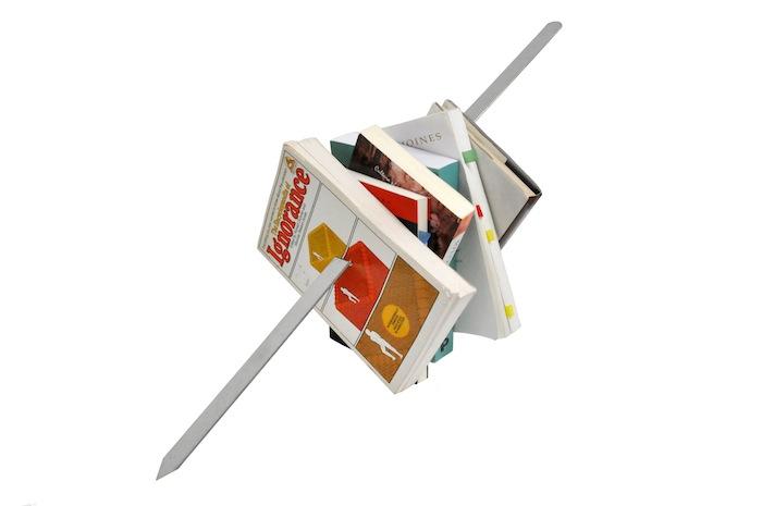 Slavs and Tatars 0 Kitab Kebab (Mexico, I), 2012 | Books, glue, metal skewer, 50x50x50cm