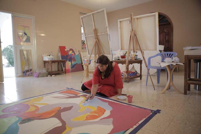 © Sueraya Shaheen, The Artist in her Studio, Abu Dhabi 2011. Image courtesy of Newertown   Art.