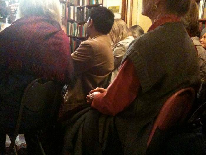 © Hind Mezaina - Inside Shakespeare and Company in the reading room, during the poetry reading session.