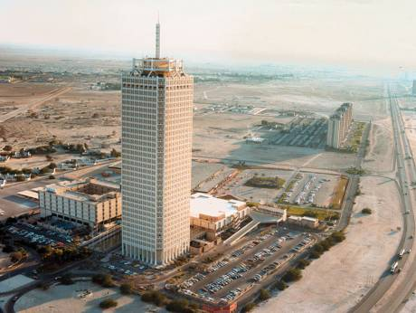 An aerial view of Dubai World Trade Centre on Shaikh Zayed Road, Dubai, circa 1980s.Image via Gulf News.