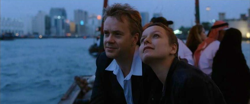 Tim Robbins and Samantha Morton in a scene from Code 46 featuring Dubai Creek