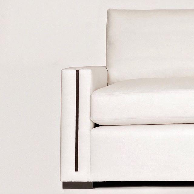 Our Jude Sofa. Simple yet luxe, with beautiful walnut detailing.  #whatsnew #customfurniture #interiordesign #luxurydesign #collection #favoritethings #welovewhatwedo #shoplinkinbio #seating #livingroomdesign