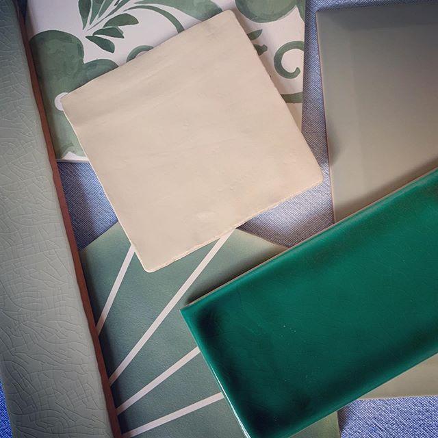 Tile shopping today: Green or Pink? . . . . . #jocollective #interiordesign #internationaldesign #residentialdesign #green #pink #tile #bathroomdesign