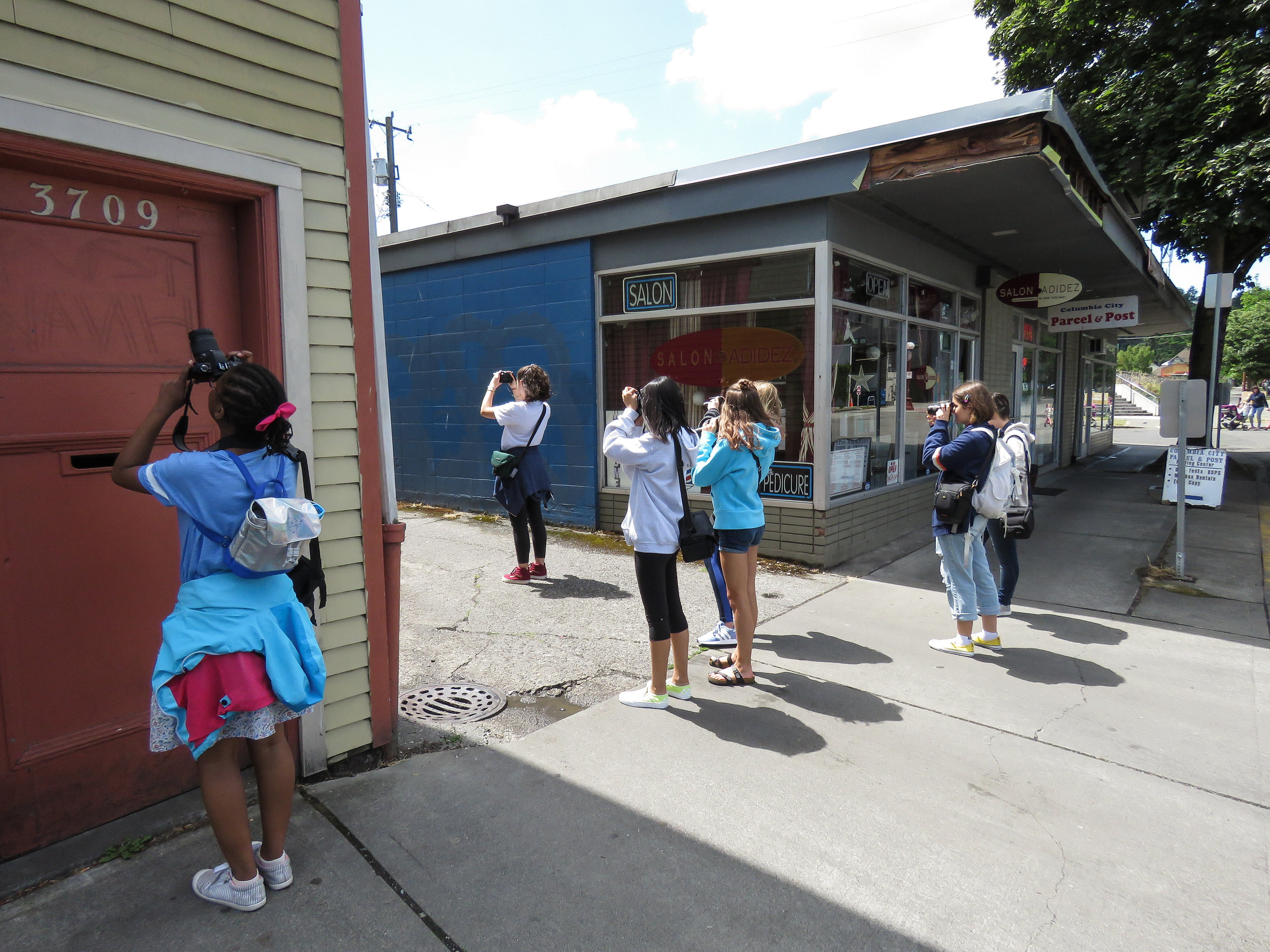 Students on a field trip to the Columbia City neighborhood.