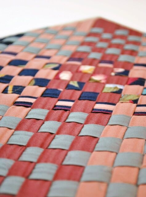 "Jordin Caudill,  Macro Mimicry , 2014, Repurposed upholstery samples, 9.5"" x 9.5""."