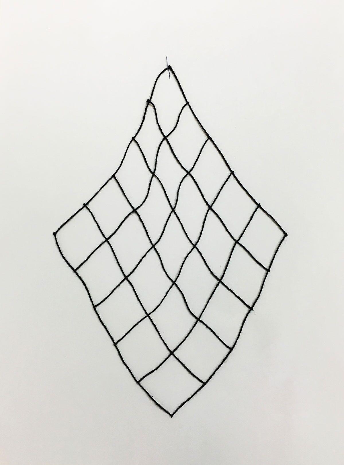 "Leah Frankel,  Hanging Grid , 2016, string, 5""x5""."
