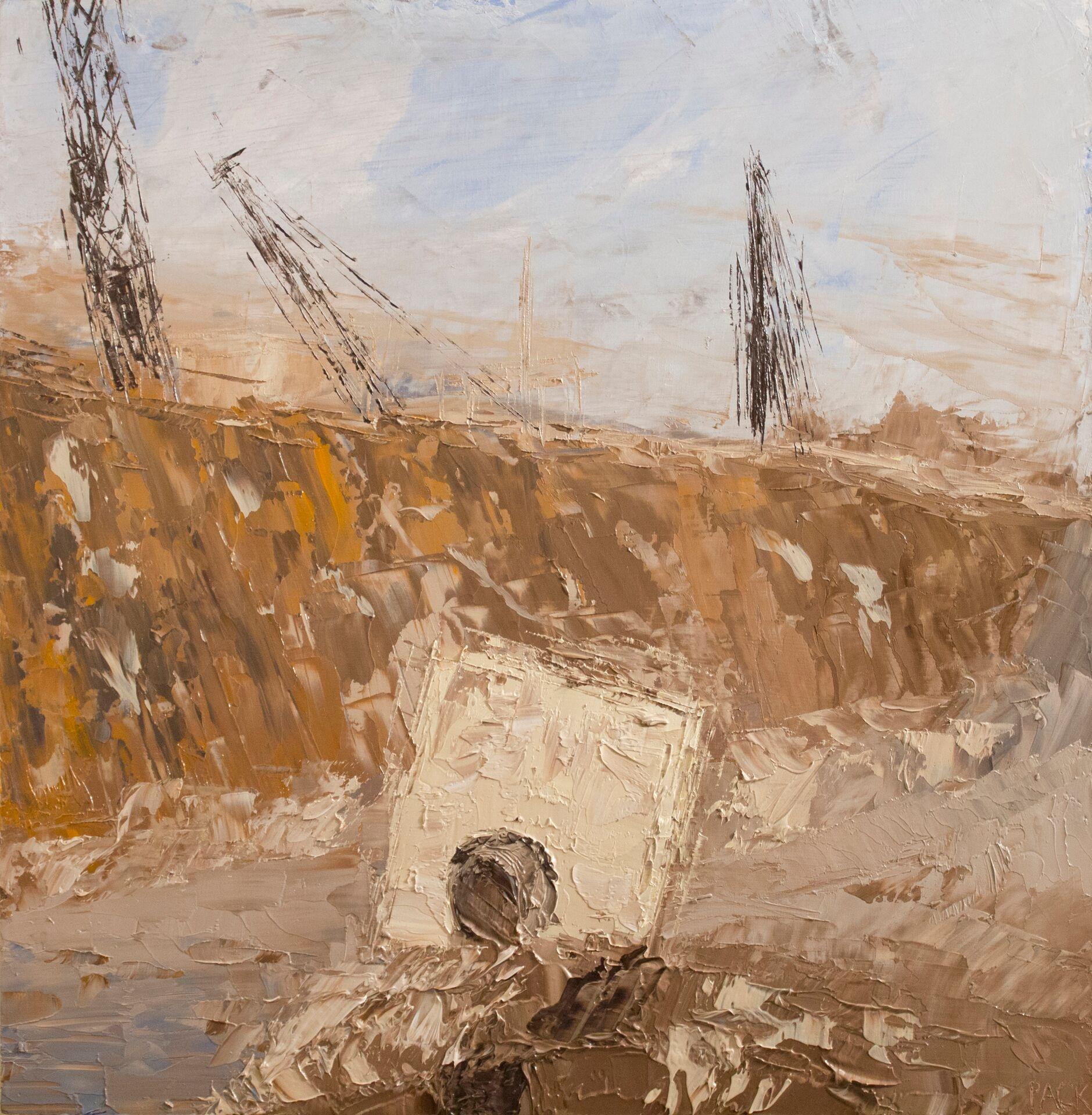 """Chris Pack ,  670 Construction #2 , oil paint, 12"""" x 12"""" x 2""""."""