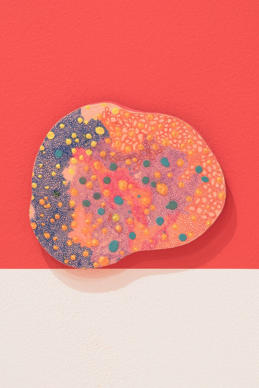 "Ellen Xu,  Happy dot , 2016, wood/acrylic, 11.5x9""."