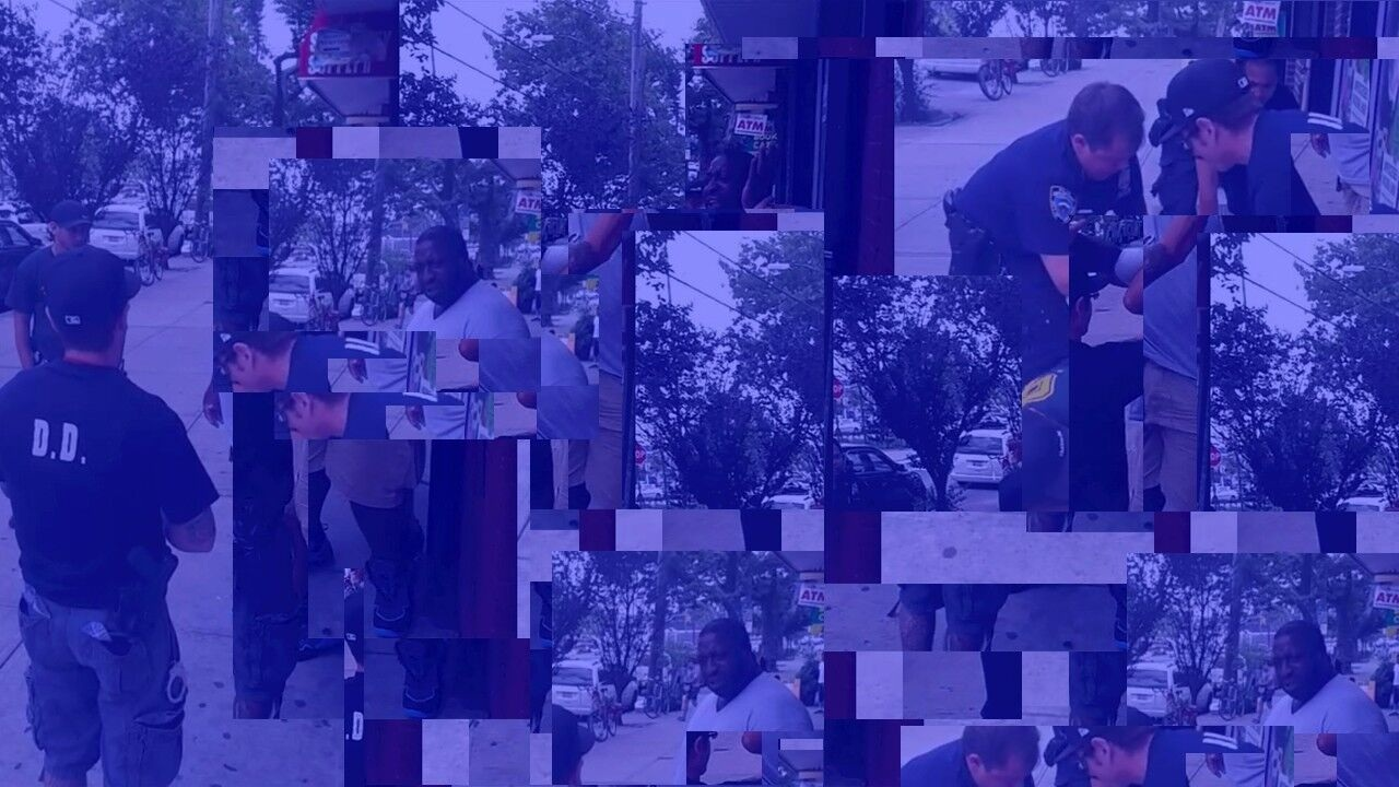 Eric Meiring,  Blue Eric Garner 11 (We're Here To Help) , procedurally manipulated digital image