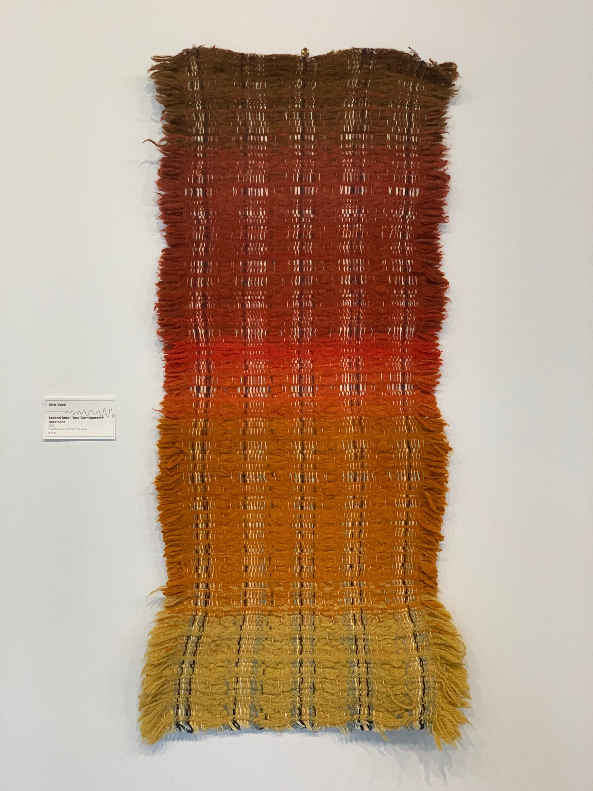 Kira Keck,  Second Base/Your Grandparents' Basement , 2015, handwoven cotton and wool, $800